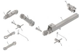 Exploded view of drawbars